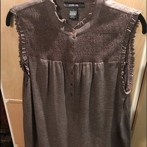 Style&Co woman's Top Brown Gold Sparkle Sleeveless